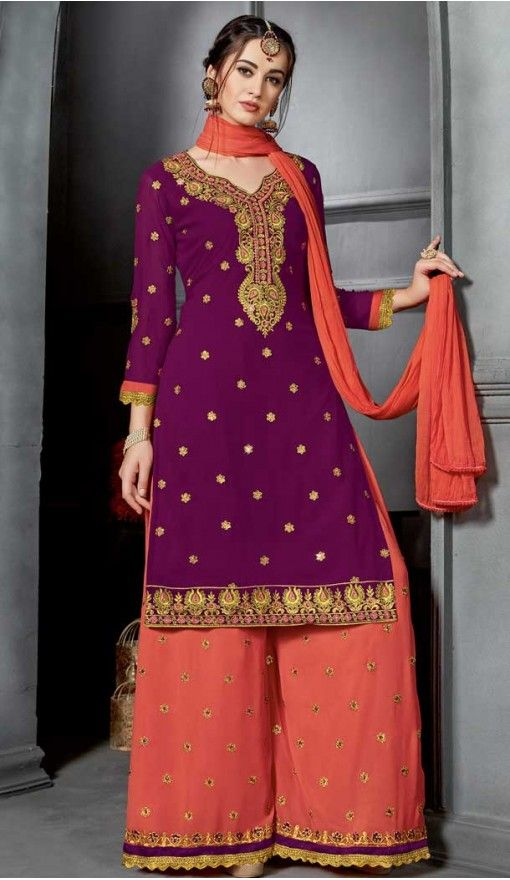 570b48e516 Purple Color Faux Georgette Party Wear Palazzo Dress BM1006  women  girl   salwarkameez  dress  plazzo  fashion  heenastyle