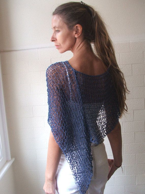 blue sapphire summer poncho by ileaiye on Etsy,