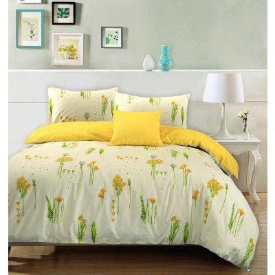 Summer Breeze Floral 100% Cotton Duvet Cover Pillowcases Reversible Bedding Set