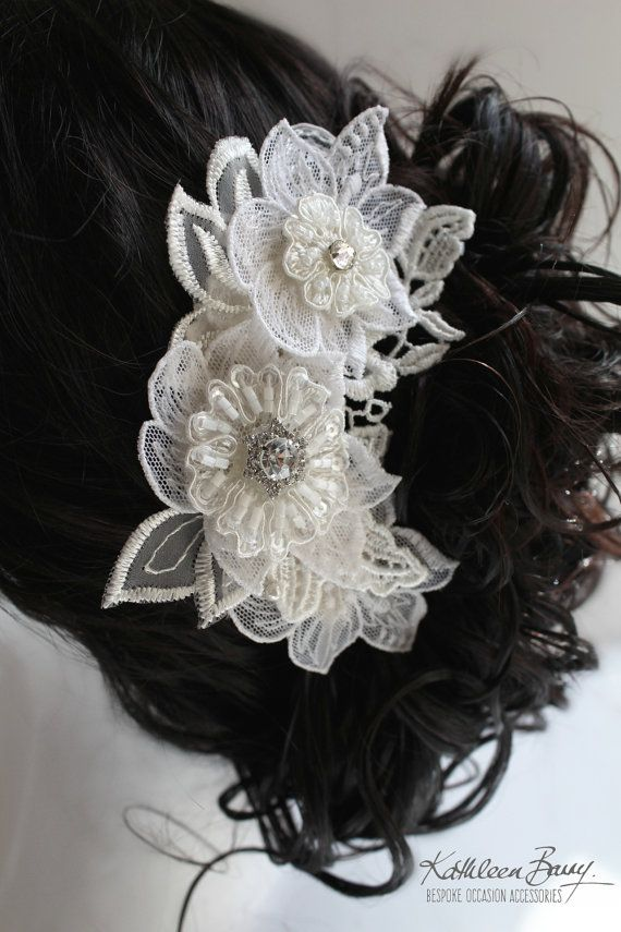 R750 Elserie lace hairpiece Chantilly by KathleenBarryJewelry