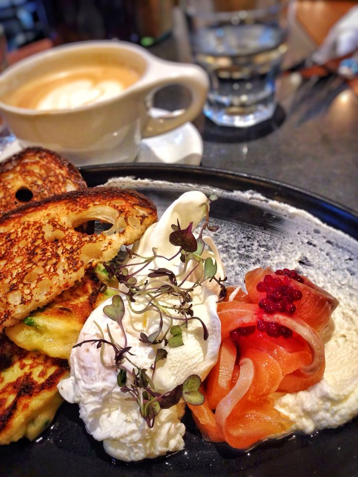 Honey cured salmon, potato & leek pikelet, goats cheese, beetroot pearls & bronze fennel w/ poached eggs & sourdough