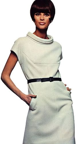 Editha Dussler in a textured crimpolene dress by Nina Ricci from Vogue Pattern Book, Fall, 1966
