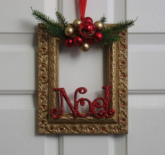 Picture Frame Christmas Wreath Gold Green and by badcandystudios