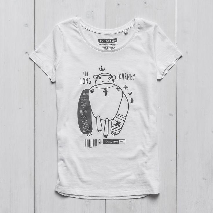 Women's Printed T-shirt white organic cotton Monkey Tattoo Ariarosso