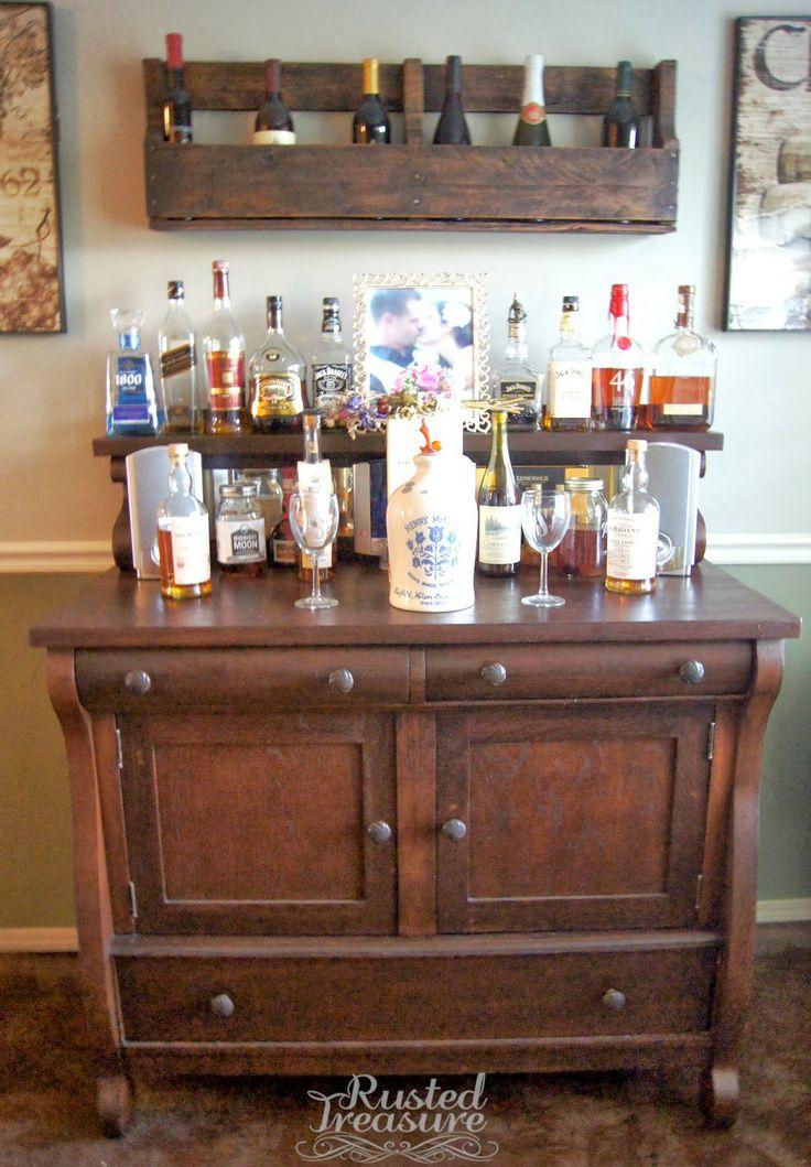Diy pallet projects man cave pinterest bar stand for Diy liquor bar