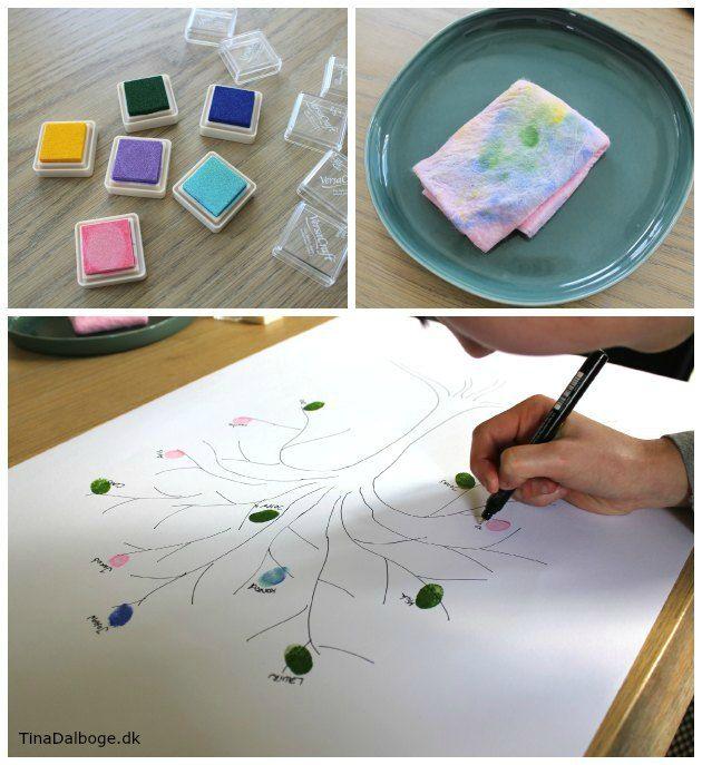 Sjovt indslag og kreativ ide til fester - lad gæsterne lave et træ med fingeraftryk - stempelpude fra Kreahobshop.dk