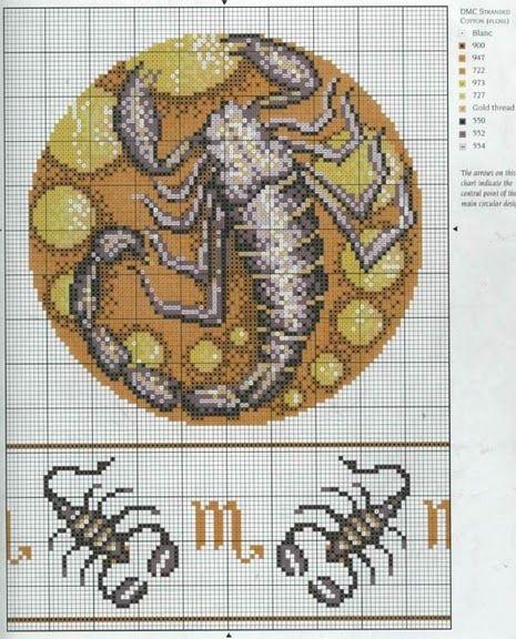 Esquema del horoscopo de escorpion, que va del dia 23/10 al 22/10. Para ver el resto de los signos del horóscopo en punto de cruz haz >>...