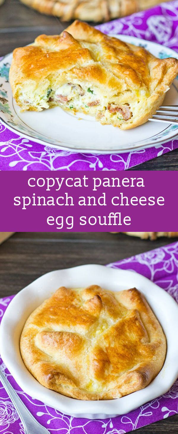 Pillsbury butter flake crescent rolls are the base to this cheesy spinach and cheese egg souffle. Add in some eggs, fresh spinach, bacon and 4 cheeses for a savory breakfast your family will love! easy breakfast recipe / panera copycat recipe / panera souffle recipe via @tastesoflizzyt