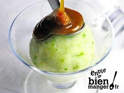 Sorbet de pomme verte au caramel au beurre salé