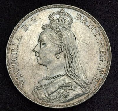 English Silver Crown, Queen Victoria 1889 Coins of Great Britain