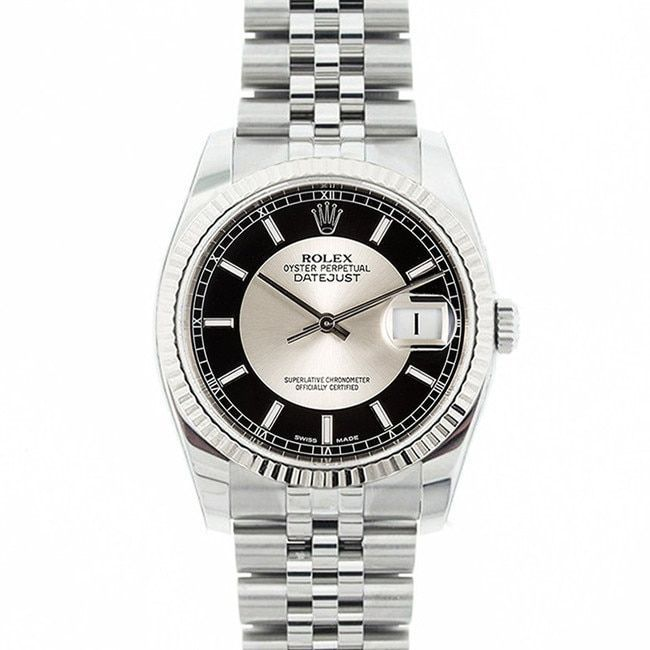 Refurbished Pre-owned Rolex Mid 2000's Model 116234 Men's Datejust Stainless Steel & Silver Tuxedo Dial Watch