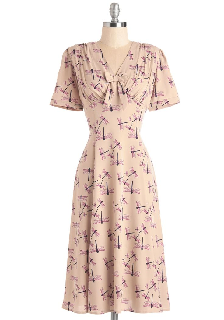Bug at My Heartstrings Dress. 40s-style pink dress with purple dragonfly print #pink #wedding #modcloth