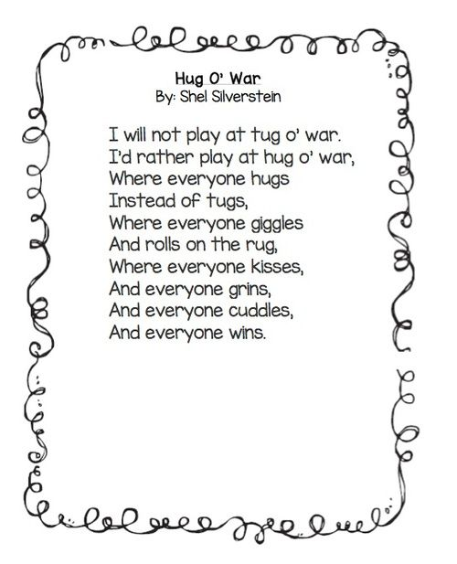 Hug O War poem and follow up activities. FREEBIE Great for Remembrance Day