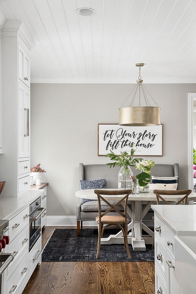 Grey Paint White Counter Tops Wood Flooring Gold Light Fixture Greypaintcolor Paintco Dining Room Paint Dining Room Colors Farmhouse Paint Colors Interior