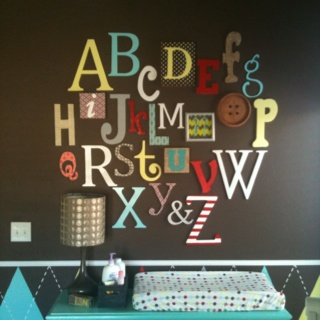 alphabet wall, could be cute to have everyone at baby shower bring a different letter
