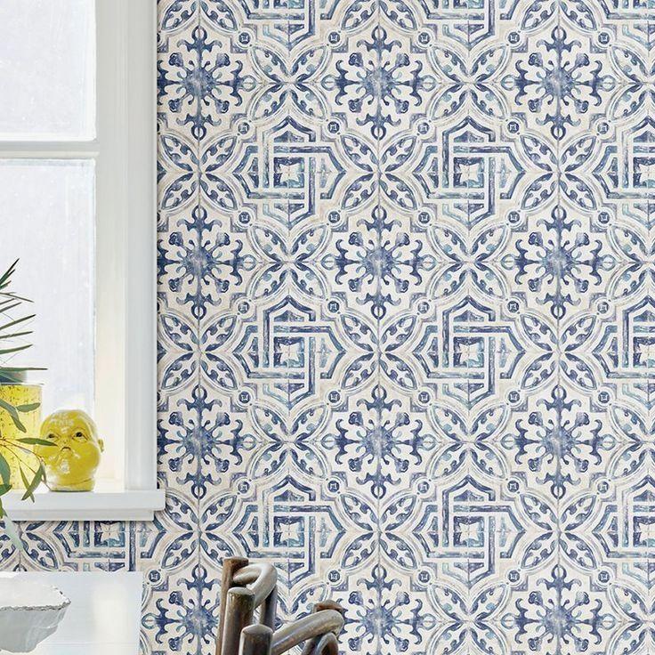12 Simple Bathroom Decor Ideas In 2020 Geometric Wallpaper Spanish Tile Wallpaper Roll