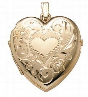 14K Gold Filled 4-Page Photo Heart Locket - F4006