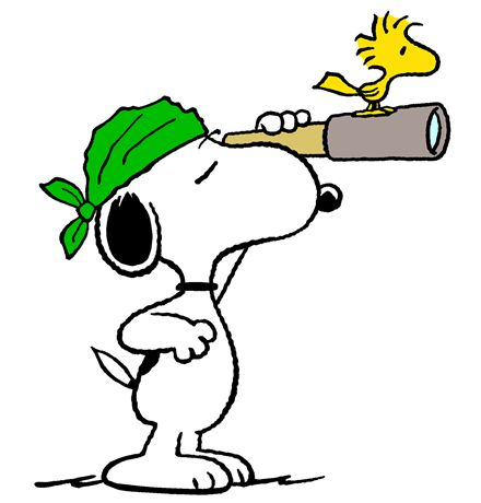 Snoopy and Woodstock - The World Famous Pirate and his Parrot Scanning the Horizon for Ships to Plunder