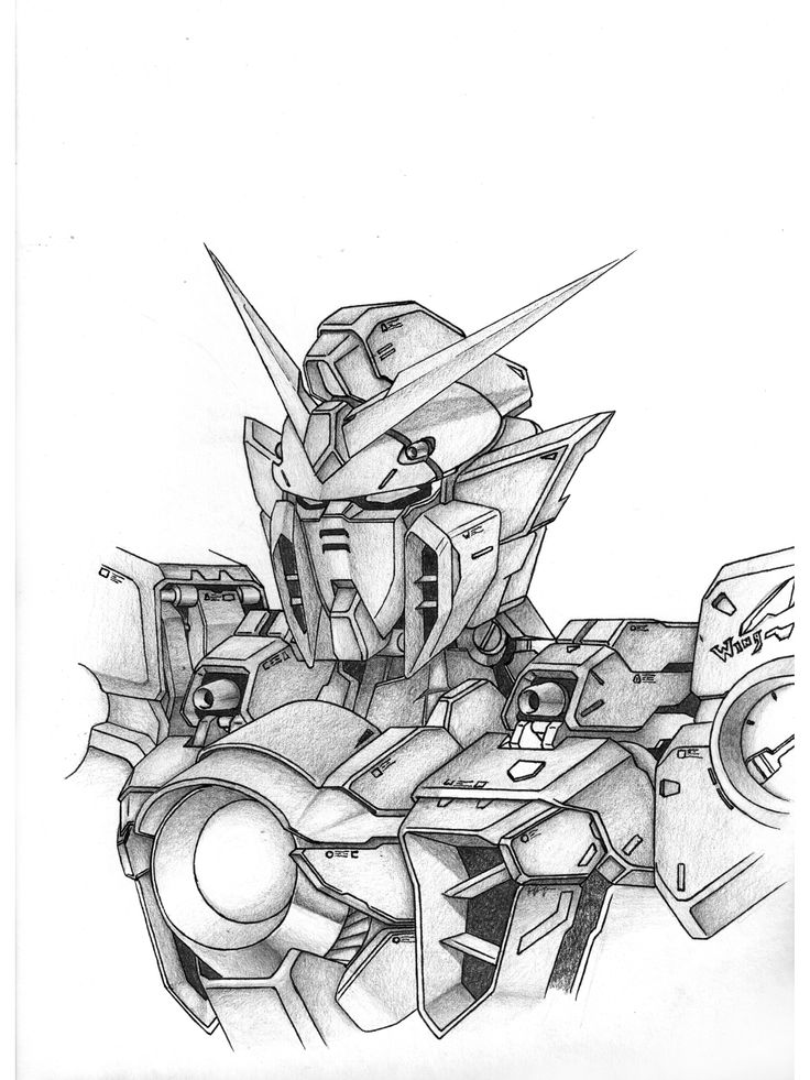 "19.	Jerry He, Grade 12, ""Wing Gundam"", pencil and graphite, paper, 9""x12"""