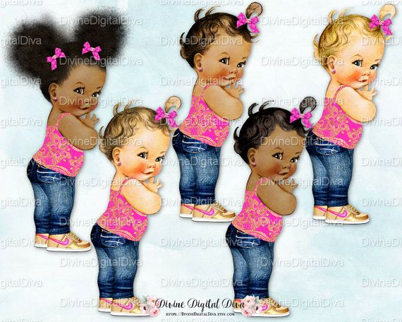 Baby Girl Jeans Gold High Top Sneakers Hot Pink w/ Gold | Afro Puffs | Clipart Instant Download