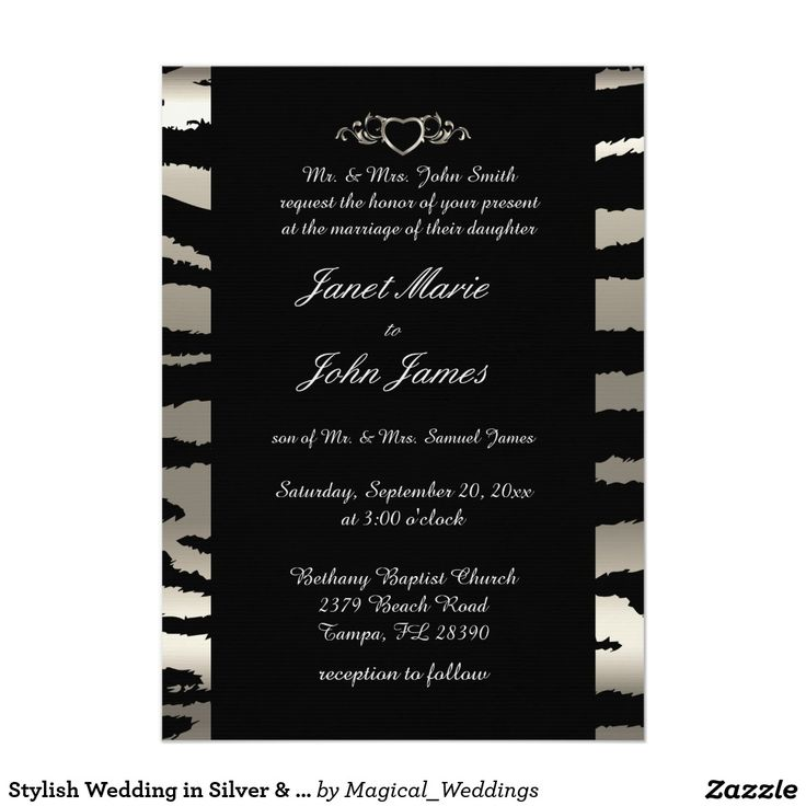 cheap0th wedding anniversary invitations%0A Stylish Wedding in Silver  u     Black Zebra Stripes