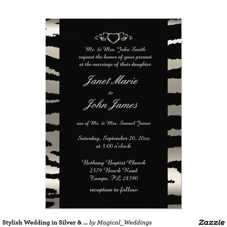 purple white silver wedding invitations%0A Stylish Wedding in Silver  u     Black Zebra Stripes Card