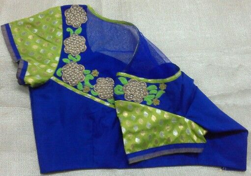 Pattu blouse with banaras hands and pearl work 91 9866583602 whatsapp no 7702919644