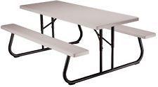 Folding Picnic Table Top Benches Flat Backyard Umbrella Hole Heavy Duty Sturdy