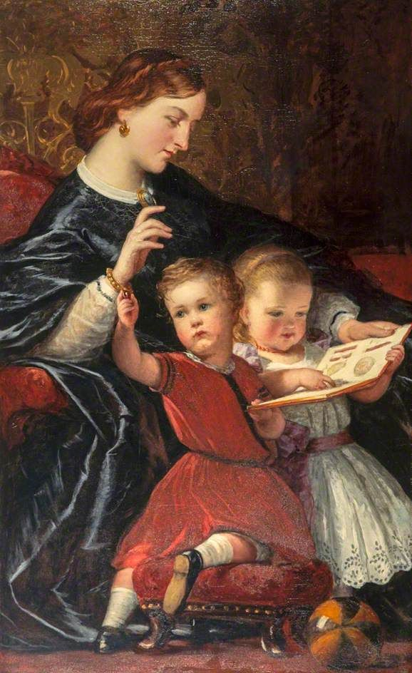 The First Lesson: the Artist's Wife, Janet Parker Vance Langmuir with their Children, Janet and James by John James Napier   National Galleries of Scotland Date painted: c.1863