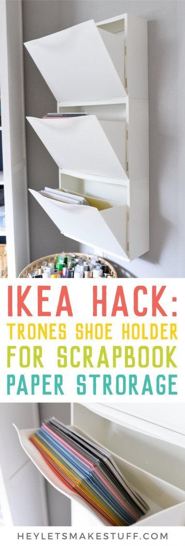 Scrapbook paper out of control? Use this IKEA Hack: Trones Shoe Holders are the perfect size and shape for holding all of your paper! This paper organization idea takes up so little space in your craft room.