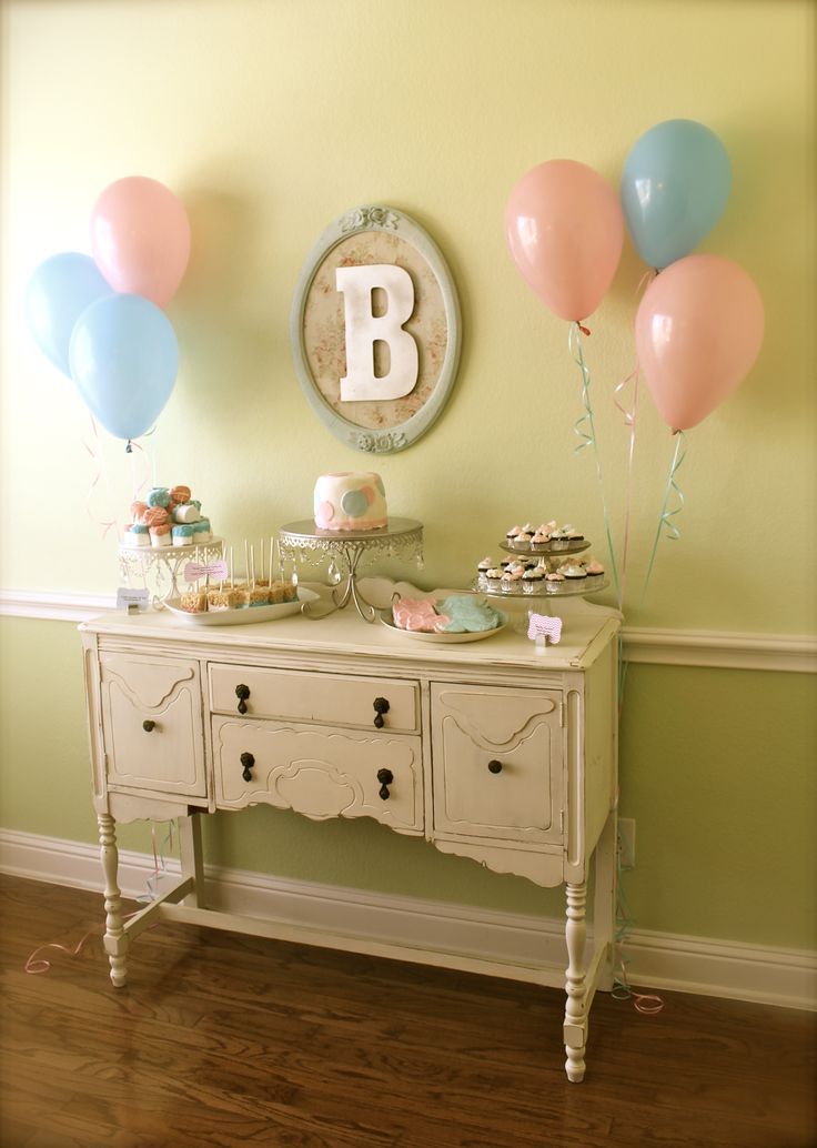 Gender Reveal Dessert Buffet vintage chic boy or girl baby shower