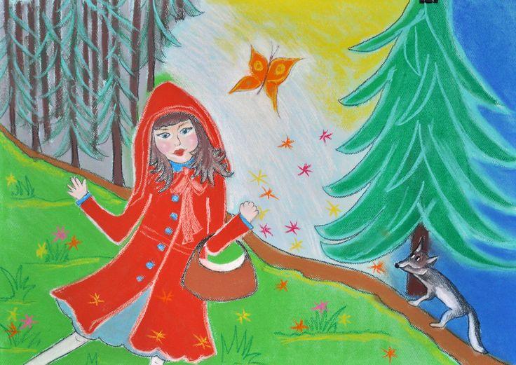 Czerwony Kapturek,pastel,Agata W-B