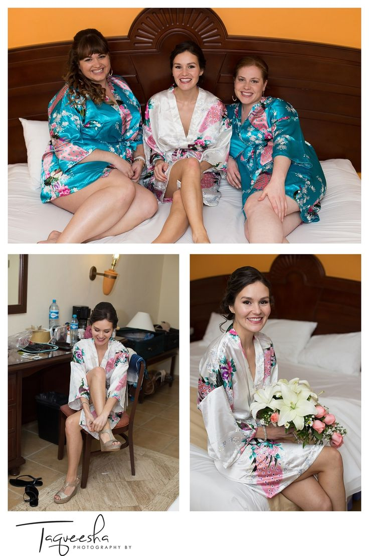 Getting ready with the bridesmaids. Grand Bahia destination wedding, Photography by Taqueesha