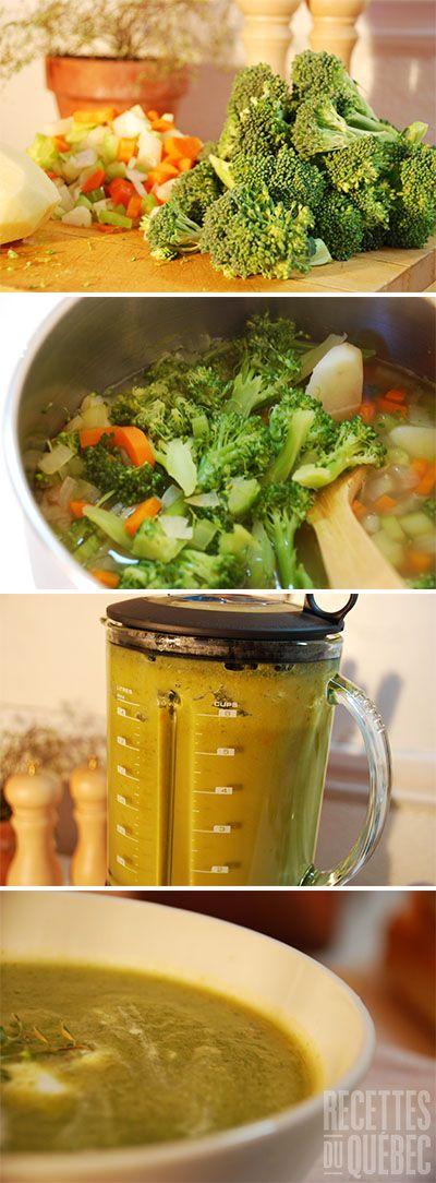 Crème de brocoli (ou chou-fleur) hyper facile et savoureuse http://www.recettes.qc.ca/recette/creme-de-brocoli-ou-chou-fleur-268 #recettesduqc #potage #soupe #brocoli