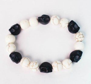 Turquoise Colorful Black Skull Beads White Veins Ball Beads Stretch Bracelet ZZ2101 by igminuscn.storenvy.com, $4.85