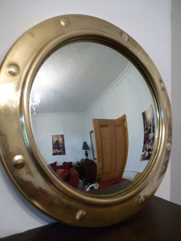 Vintage brass convex nautical porthole style mirror for Porthole style mirror