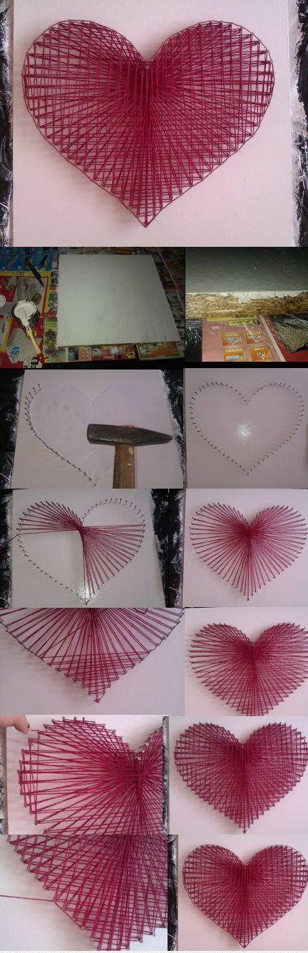 DIY String Heart | Materials Needed: piece of wood, string, box of nails, spray…