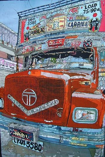 Keep On Truckin': Trucks in India are very different to the more functional trucks we see in the West. Indian trucks are like temples or even Christmas trees on wheels, festooned with decorations, coloured balls and glitter with gods of all kinds affixed to different parts of the chassis and notices stuck all over. They are generally built by the Tata company and are usually painted orange although I have started to see other colour schemes creeping in. All seem to have one sign in common…