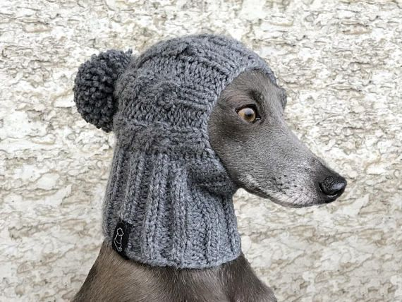 Italiaanse windhond hoed / Greyhound hoed / Pom Pom Dog hoed / Greyhound haarband / hond hoed / kabel hond hoed / muts Dog hoed  Deze unieke hand-knit kabel hoed is de beste keus voor uw hond in die koude winterdagen.  Materiaal: 20% wol, 80% acryl 30 graden machinewas  Maten beschikbaar: