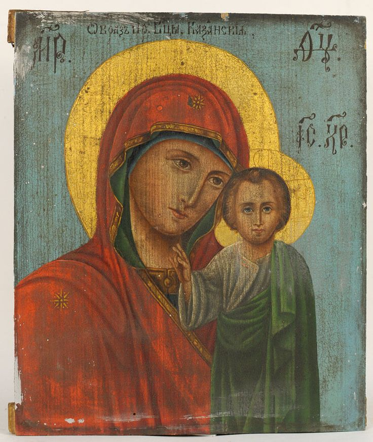 19th C. ANTIQUE RUSSIAN ORTHODOX RELIGIOUS ICON OUR LADY OF KAZAN MOTHER OF GOD | eBay
