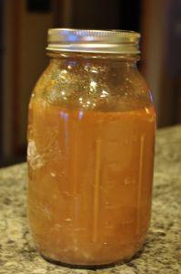 Homemade Stir Fry Sauce (cornstarch, brown sugar, ginger, garlic, chili powder, soy sauce, cider vinegar, chicken/beef broth, water)