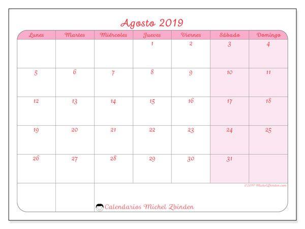 Calendario De Agosto 2019 Decorado.Calendario Agosto 2019 63ld Calendario Calendario