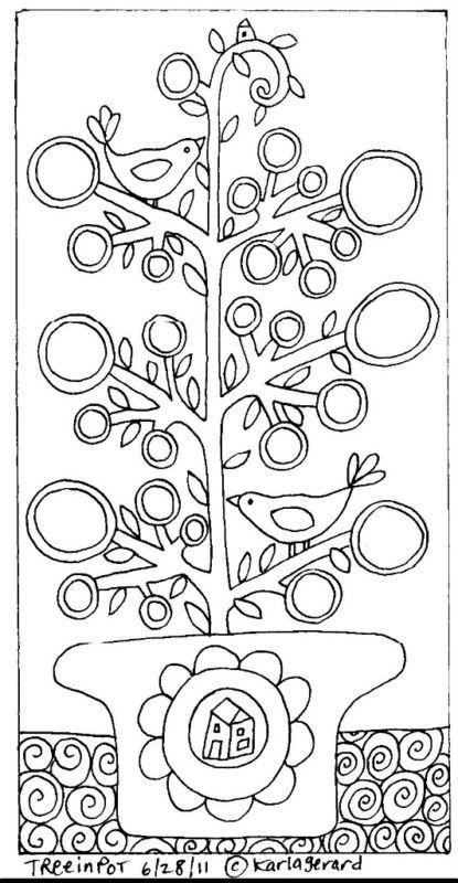 RUG HOOK PAPER PATTERN Tree In Pot FOLK ART Karla G | eBay