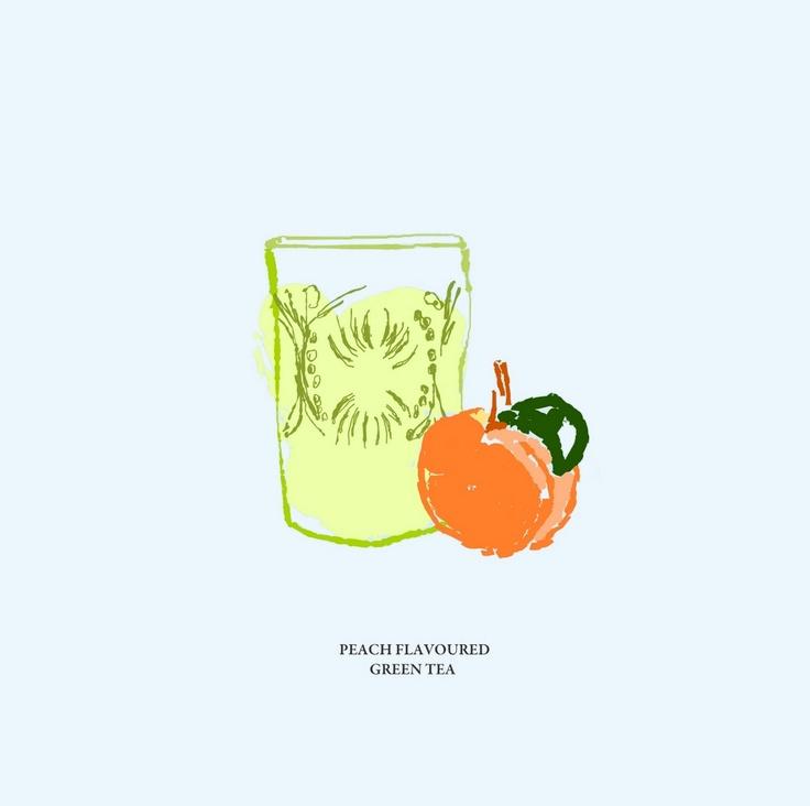 #green tea #peach #blue #illustration #taki trik