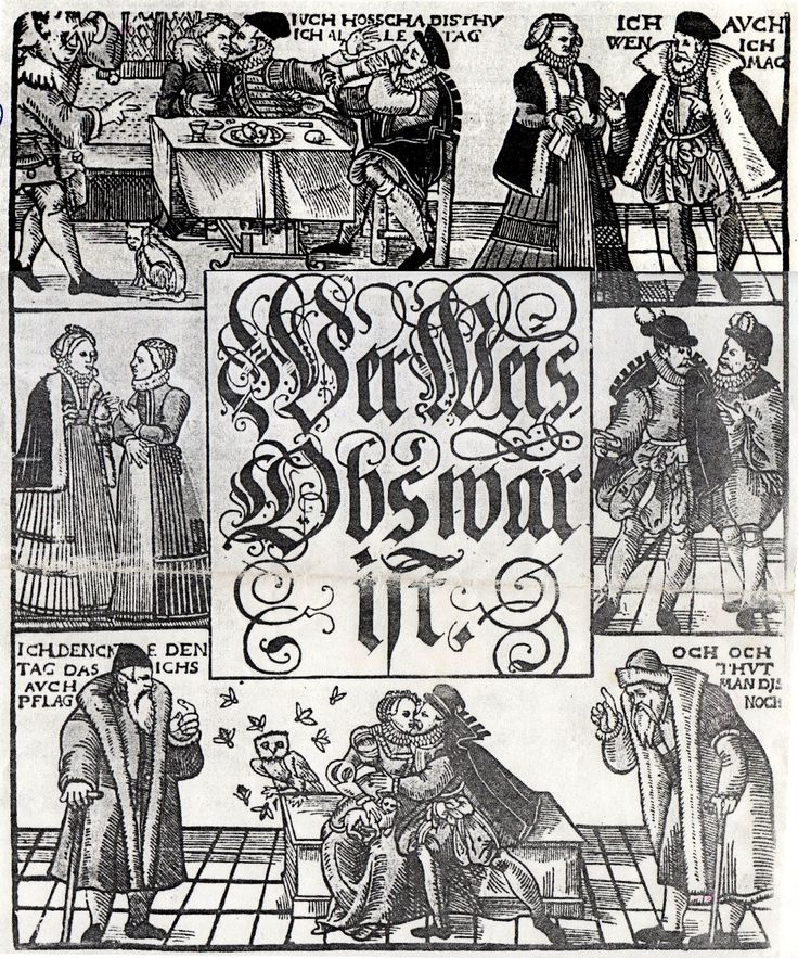 """German single-sheet woodcut print """"wer weis obs war ist"""" [Who knows if it's true], issued 1570s? Uniquely in the GNM"""