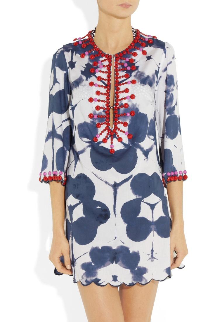Easton Pearson Amea Kuta embellished printed cotton kaftan