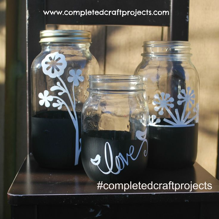 Up-cycled Chalkboard Dipped Mason Jars with Floral Love Inspired Vinyl'd.  For your custom order and like us on facebook at http://www.facebook.com/completedcraftprojects #completedcraftprojects #UpCycled #ShabbyChic #MasonJar