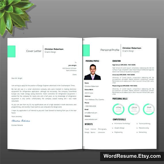 Page Exclusive Resume Template Cover Letter References  Modern