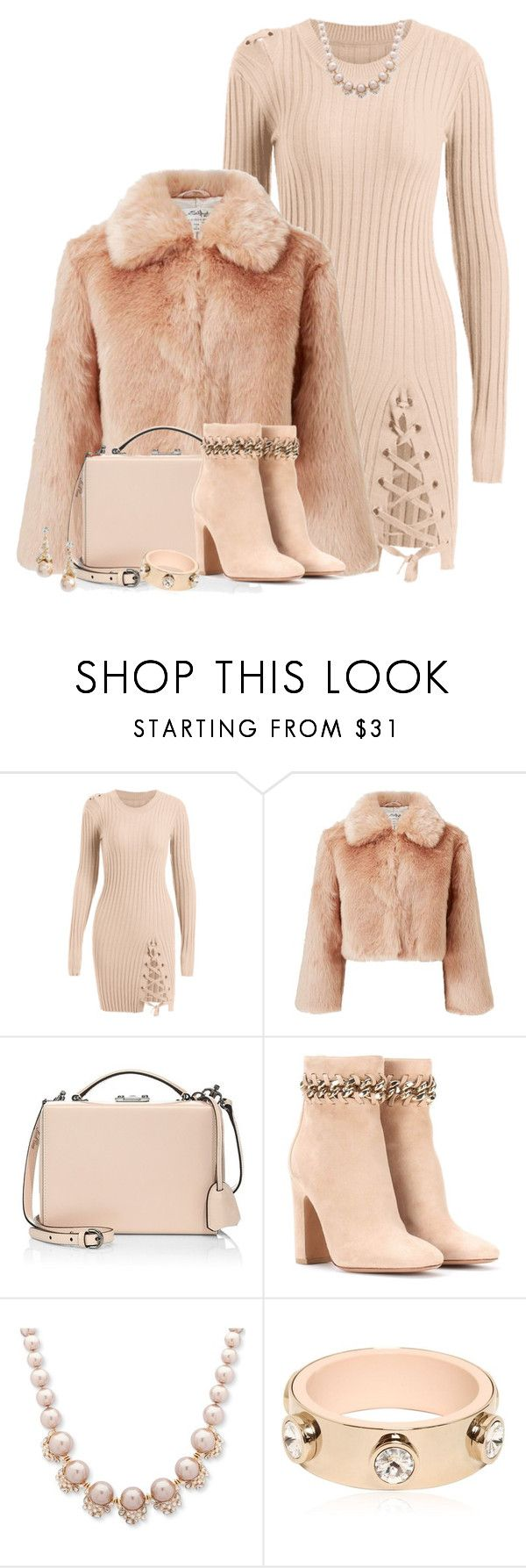 """Peach Fuzz"" by sharonbeach ❤ liked on Polyvore featuring Miss Selfridge, Mark Cross, Valentino, Givenchy and fuzzy"