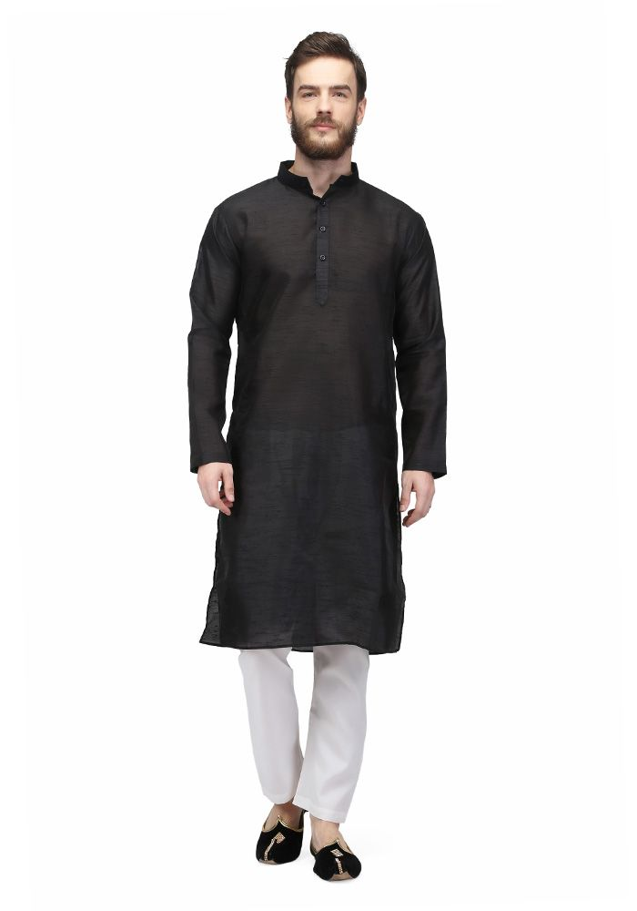 Black Colored Raw Silk Mens Kurta Pajama By Pret A Porter